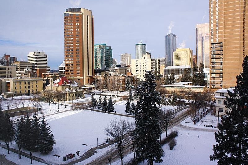 Evergreen Estates 14 Ave Balcony View in Winter